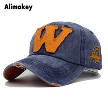 d6232fb4200 2018 Brand Retro Washed Caps Embroidery W Letter Baseball Cap Dad Hat  Outdoor Bone Beach Hat Pop Man Woman Travel Caps Snapback