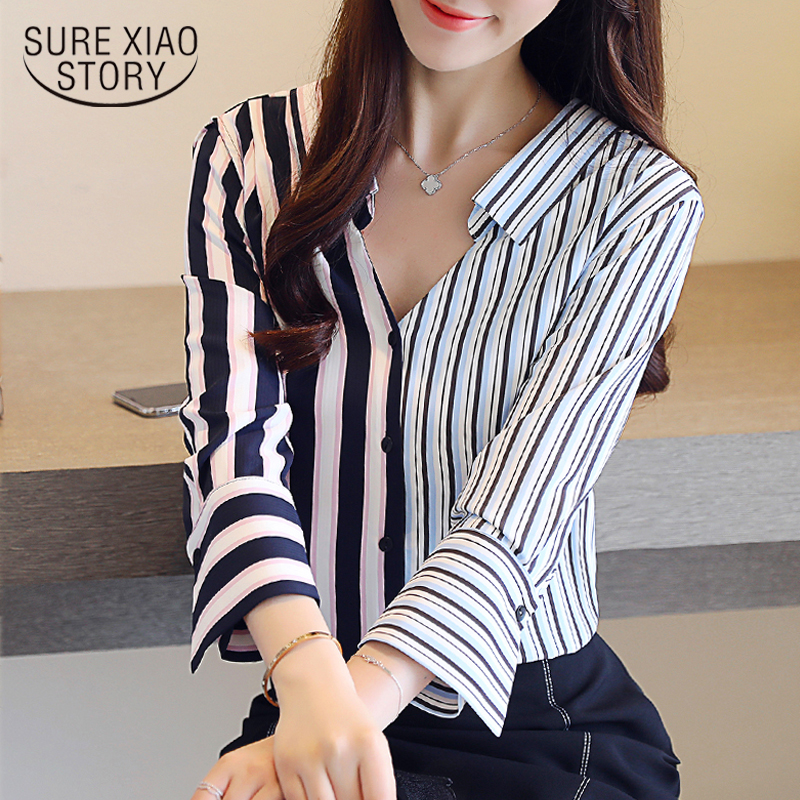 OL Striped V-neck Women   Blouses     Shirts   2018 Autumn New Lady Vertical Stitching   Shirt   Long Sleeve Female Chiffon Blusas 0864 30
