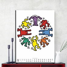 ZZ1420 modern canvas art calendar keith haring canvas oil art painting wall pictures for livingroom bedroom decoration unframed