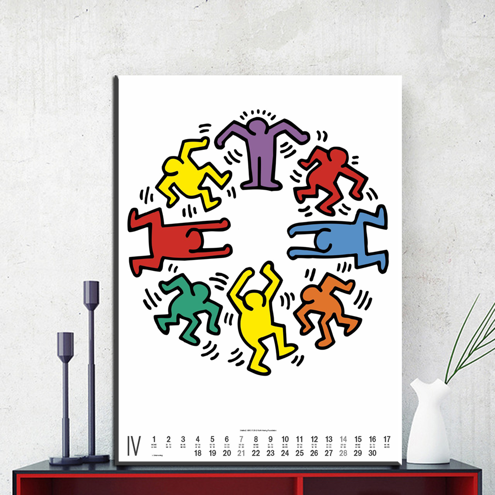 ZZ1420 Moderne Leinwand Kunst Kalender Keith Haring Segeltuch ölgemälde  Kunst Wandbilder Für Wohnzimmer Schlafzimmer Dekoration Ungerahmt