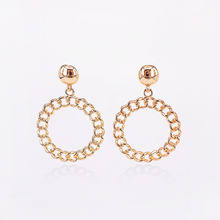 Gold Silver Color Statement Geometric Circle Metal Pendientes Earrings for Women Fashion Drop Earring Brincos