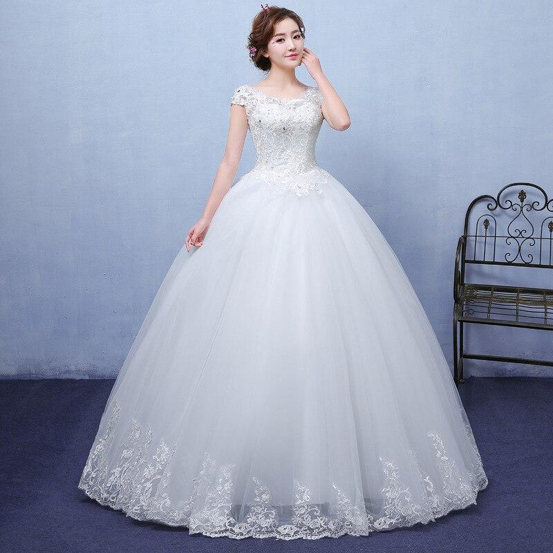 EZKUNTZA New Simple O Neck Short Sleeve Wedding Dress Fashion Princess Lace Floor Length Lace Up Wedding Gown Robe De Mariee L