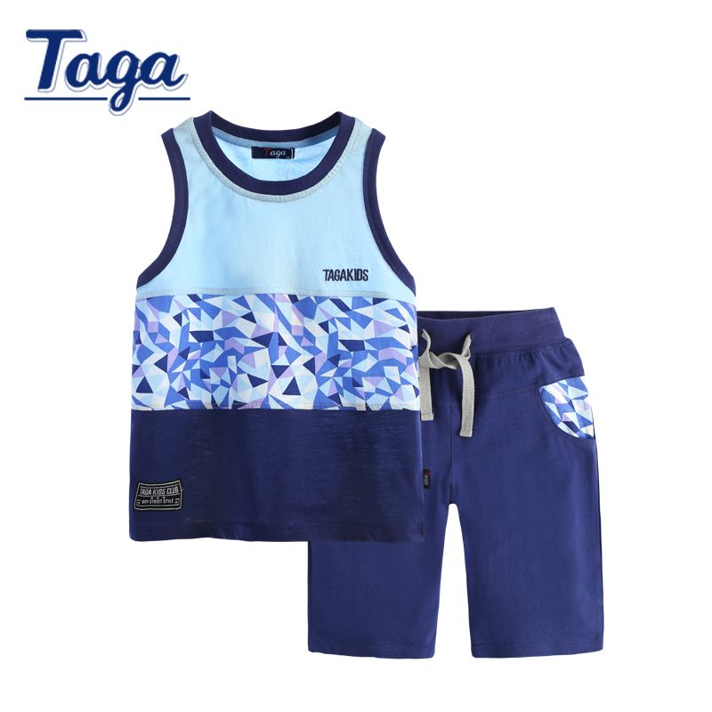 Children Sets Baby boys clothes TAGA 2016 Summer Kids Clothing Sets boy Vestiti Set Vest + Shorts Sport Suit Kid Cotton cloth 2016 new summer baby sport suit 100