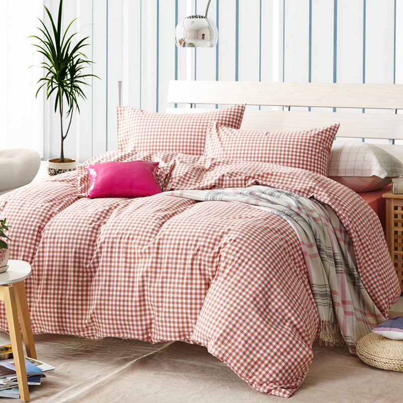 red plaid duvet cover sets for single or double bed 100 cotton bedcover plaid bedding