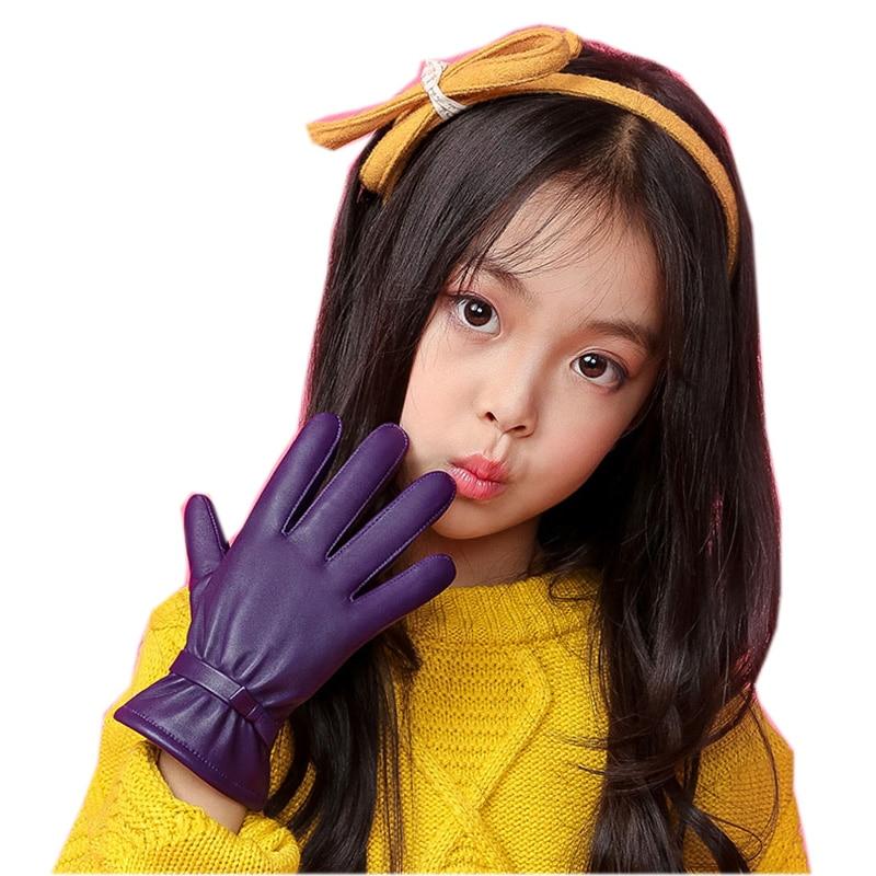 Genuine Leather Gloves Five Finger Children's  Glove Winter Warm Velvet Lined Kids Sheepskin Gloves For Girls NW103-5