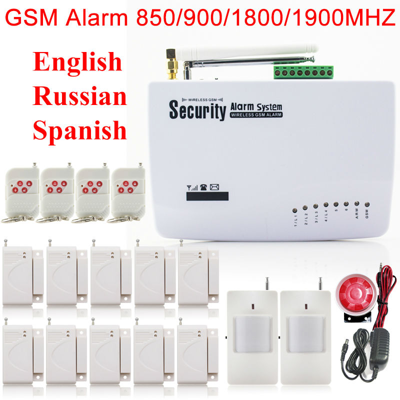 10 Door Sensor Wireless Home security GSM Alarm System Dual Antenna Russian Manual Voice Arm Disarm Keychain PIR Motion Detector kerui wireless remote control arm disarm detector f touch keypad panel gsm pstn home security burglar voice alarm system