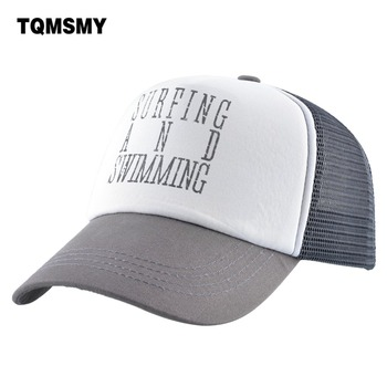 TQMSMY SURFING AND SWIMMING Cap Men Summer Baseball Hats Women Letter Printing Caps Snapback Hat Female Visor Hat TMA65