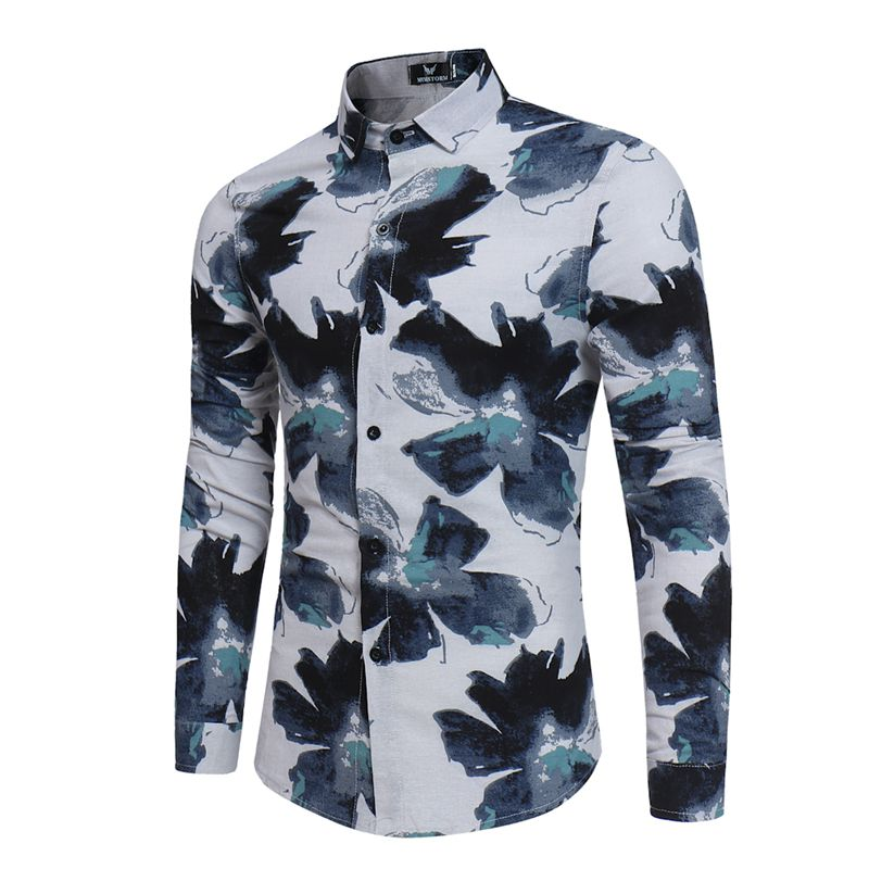 Brand 2018 Fashion Male Shirt Long-Sleeves Safflower Inkjet Pattern Tops Simple Mens Dress Shirts Slim Men Shirt