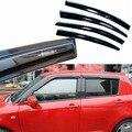 4 pcs Janelas de Ventilação Viseiras Chuva Guarda Sol Escudo Escuro Defletores Para Suzuki Swift 2013