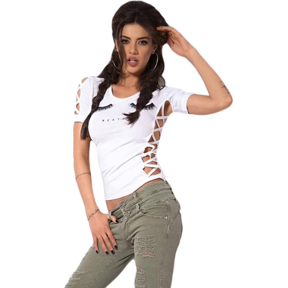 Shirt design unique - Best Women T Shirt Tshirts Cotton Women Tops Tee Unique Eyelash Printing Side Hollow White Vest 25851 Simple Design Camiseta Ropa Product
