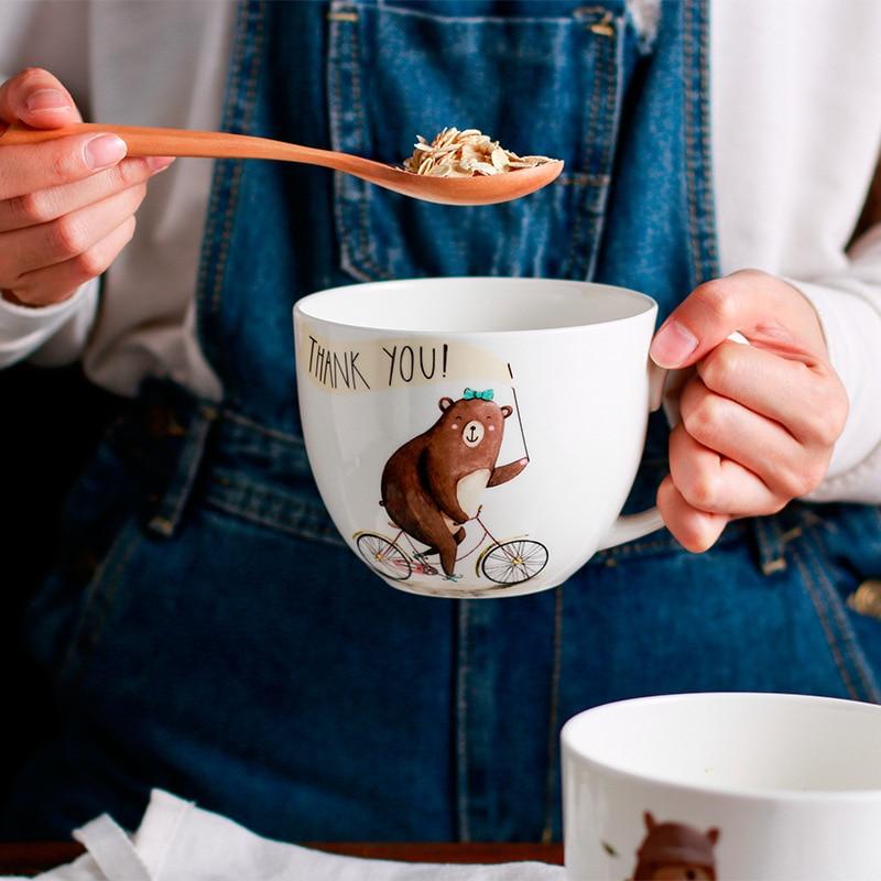 Simpatico orso bruno Grande capacità ice cream Tazze Tazza di acqua 600 ML Tazze Espressione Del Fumetto di Disegno Ceramica Latte Tazza di Caffè