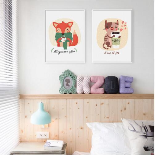 Kawaii Animales Zorro Gato de Arte A4 Impresión de Carteles Café Té Salón Cuadros de La