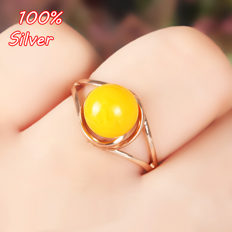 S925 pure Sterling silver Ring Blank holder Fit beaded amber round pearl Rose Color Ring ...