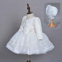Newborn Christening baby dress Birthday Wedding Party Dress with Hat coat set Elegant Baptism Christmas Prom Embroidered dresses