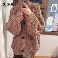 RUGOD New Long Women Cardigans Casual Knitted Loose Women Sweater Plus Size Solid Women Clothes Winter Wear pull hiver femme