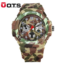 OTS Military Camouflage Watch Outdoor Silicone Waterproof LED Digital Sports Watch for Men Electronic Clock Relogio Masculino