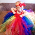 Children Girl Rainbow Tutu Dress with Headband Christmas Holiday Birthday Party Outfit Handmade Fully Tutu Dress TS093