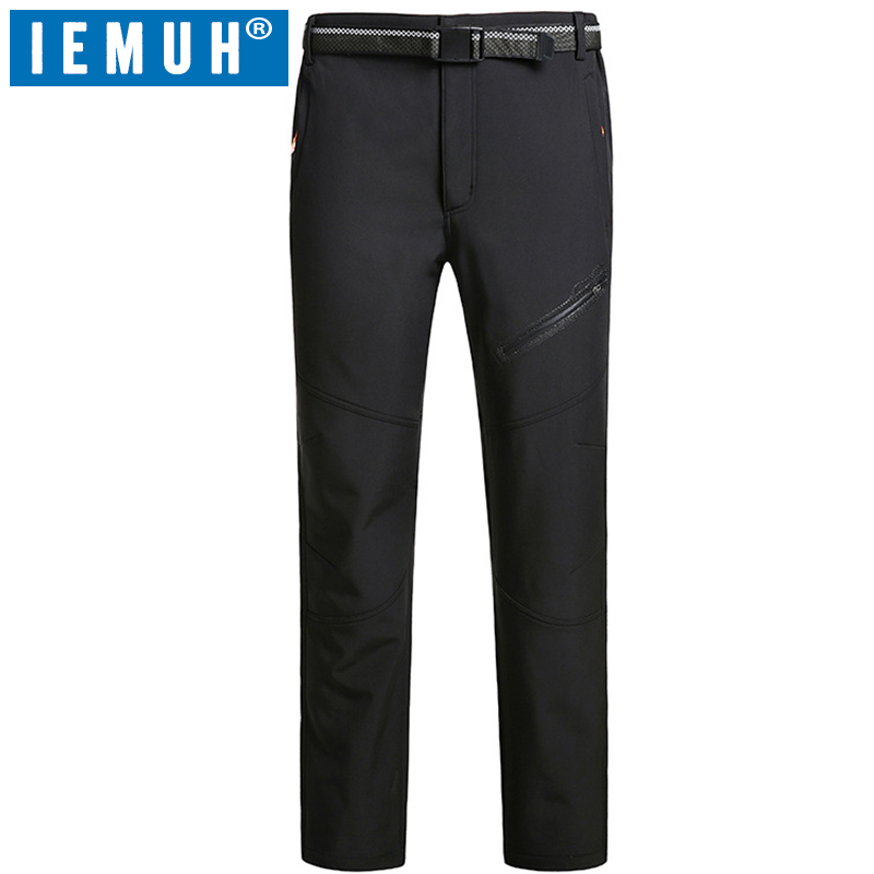 IEMUH Brand Size L-8XL Outdoor Winter Men Hiking Pants Sport Toursers Thermal Waterproof Mountain Skiing Climbing Trekking Pants lance hiking winter fleece thermal pants windproof leisure style climbing cycing bike outdoor sport pant men big size cloth