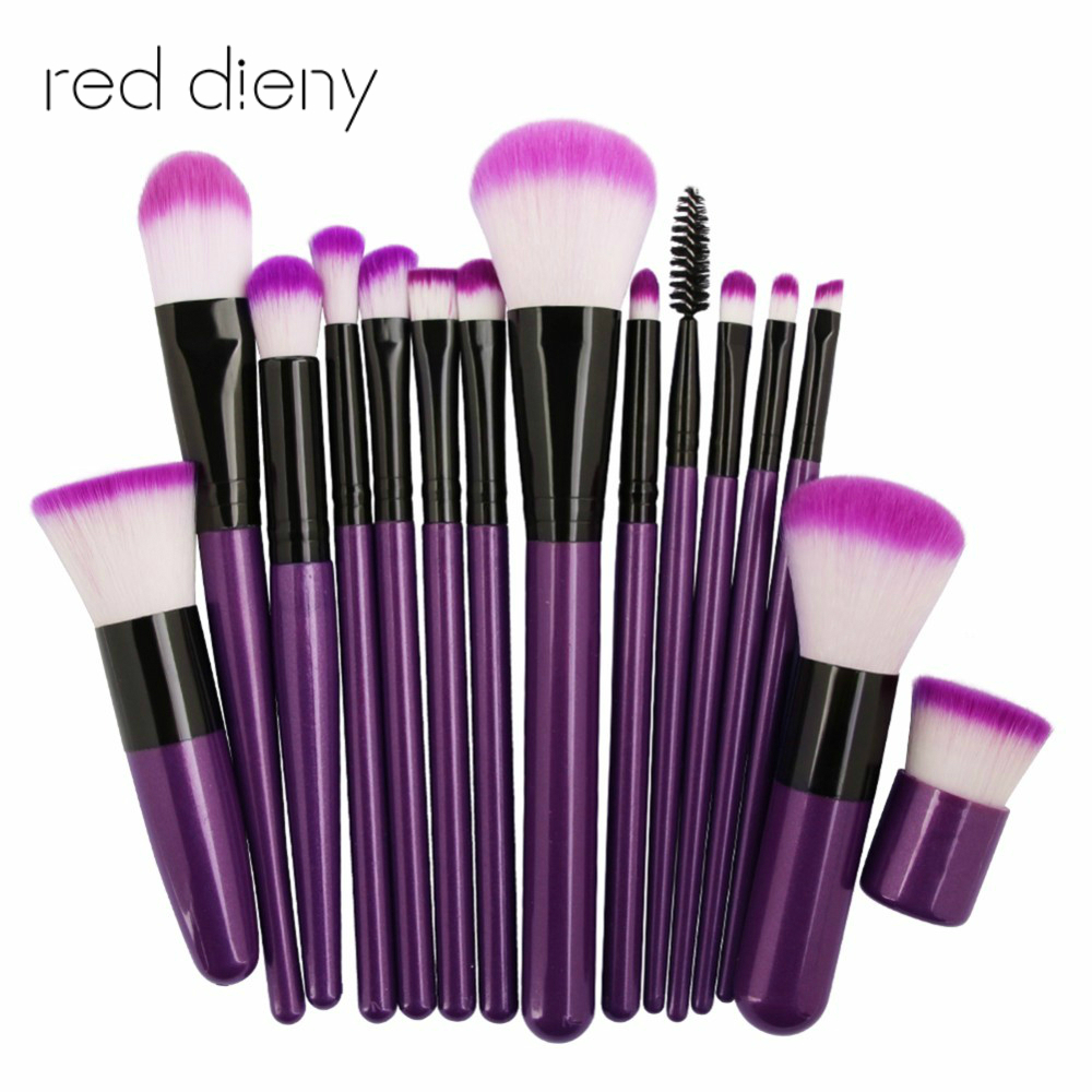 Professional Makeup Brushes Set 15pcs Different Types For Face & Eye Powder Foundation Eyeshadow Lip Make Up Brush Tool Kit msq 15pcs professional makeup brushes set foundation fiber goat hair make up brush kit with pu leather case makeup beauty tool