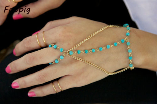 1pcs Women Multi Bracelet Bangle Slave Chain Link Interweave Finger Ring Hand HarnessFree Shipping