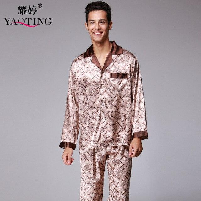 Мужская Шелковый Атлас Пижамы Набор Пижамы пижамы Ночной Рубашке 2 Шт. Мужчин Пижамы Халаты Халаты Для Мужчин Ночное Рубашки TZ177
