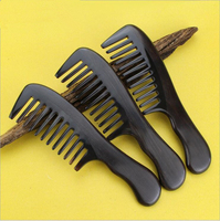 Hight Quality Large Real Ebony And Horn Black Comb 1 Piece Health Care Hair Styling Tools