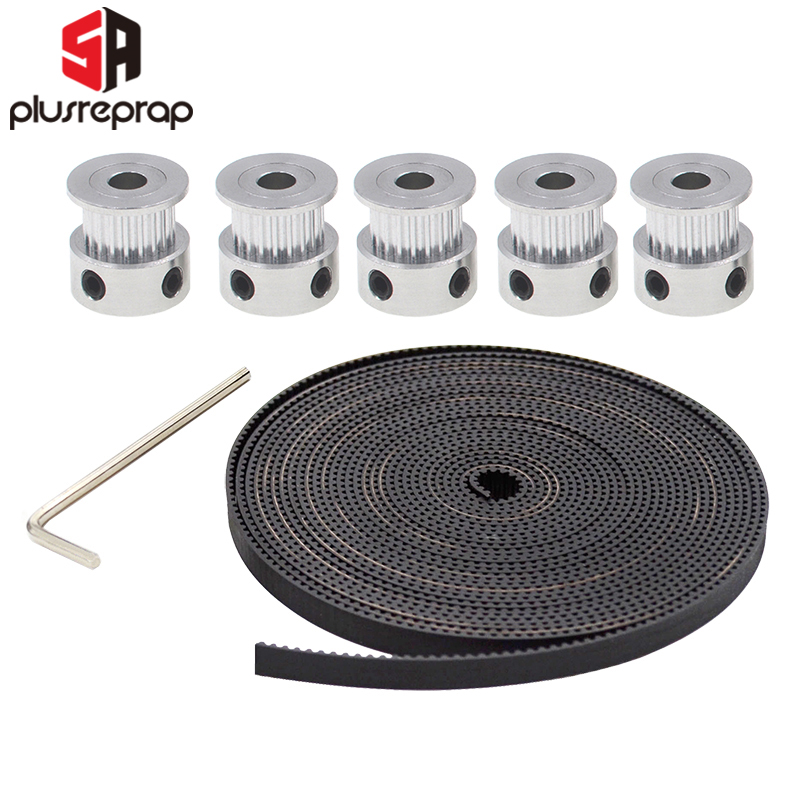 5pcs GT2 Timing Pulley 20 Teeth 5M GT2-6mm GT2 Timing Belt 10 X M3 Setscrews Allen Key For 3D Printer Free Shipping