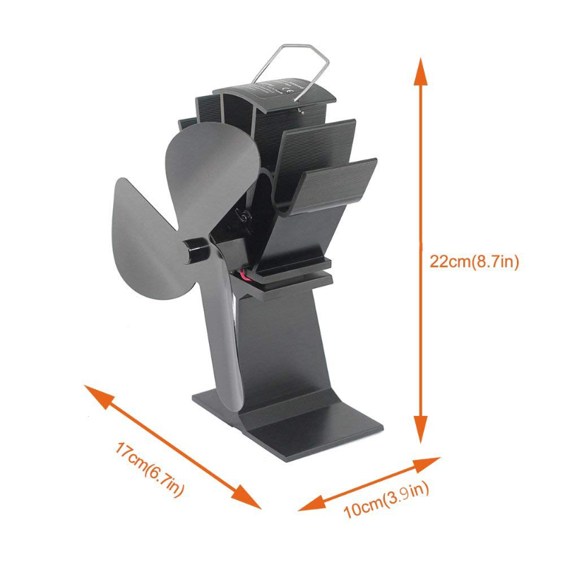 TOMERSUN 3 Blades Black Heat Powered Stove Fan With Stove Tube Thermometer For Wood/Log Burner/Fireplace