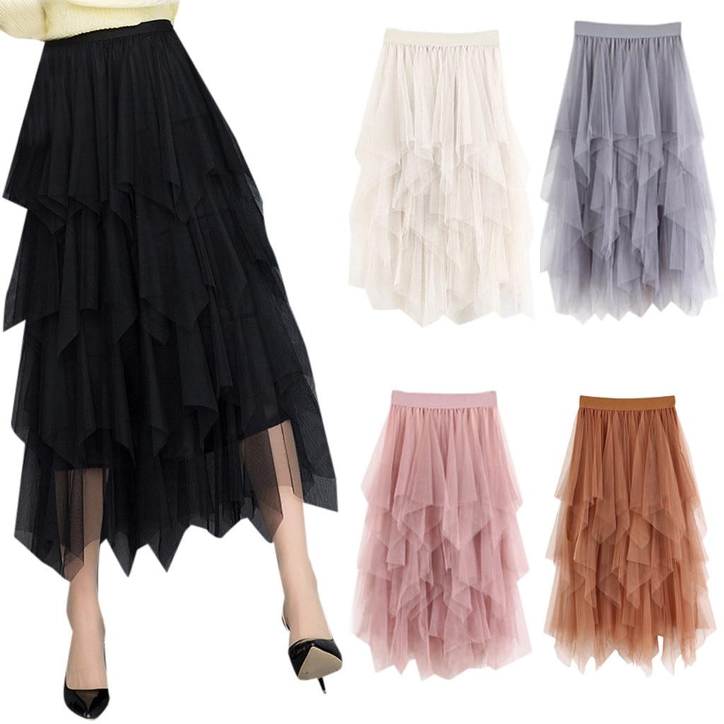 юбка женская Casual Womens Comfortable Tulle High Waist Pleated Tutu Skirt Ladies Midi Skirt faldas mujer moda 2020 #30