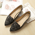 2017 Spring Black Crystal Women Shoes Flats Sequins Low Heel Pointed Toe Flats Soft Sole Ballet Flats Shoes Ladies Leather Shoes