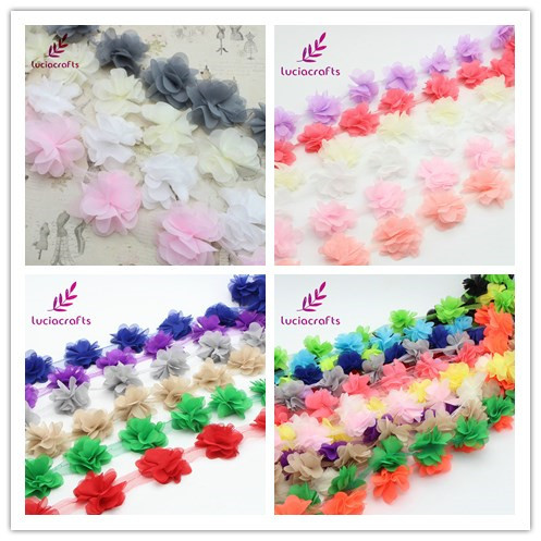 Lucia crafts Approx 5.5cm 3D Chiffon Flowers Lace Trim Sewing Supplies Dress Decoration Lace Fabric Applique 050025085