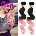 Clip En extensiones de Cabello Ombre 2 Tone Negro Rosa Sin Procesar Malasia Pelo Virginal Cuerpo Wave10pc/set Pink Clip En Extensiones de cabello