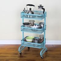 Metal Kitchen Trolley Carts Wheeled Storage Rack Shelf Vegetable Floor Bathroom Shelf Storage