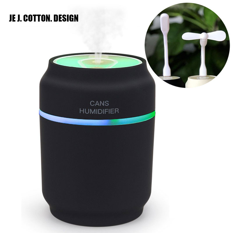 200ML Ultrasonic Humidifier with Free LED Night Light USB Fan Aroma Essential Oil Diffuser Air Humidifier Fogger for Home Car