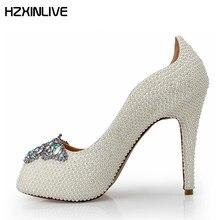 GGOB 2018 Handmade Luxury Pearl Wedding Shoes Women Sheepskin Lining  Crystal Butterfly Peep Toe High Heels Women 12cm Pumps 3eef767232f6