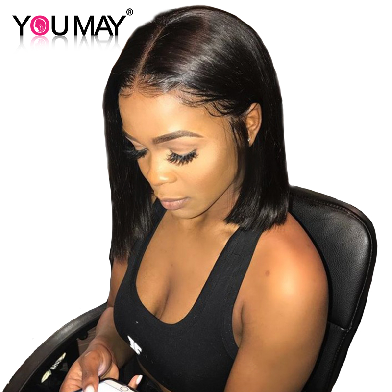 Short Human Hair Wigs Straight Bob Wig For Women 360 Lace Frontal Wig Pre Plucked With Baby Hair Natural Black You May