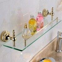 Leyden Wall Mounted Single Tier Copper Gold Finish Glass Shelf With Bar Cosmetic Shelf Bathroom Shelf Bathroom Accessories