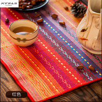 XYZLS Set of 4 Multi color Table Placemats Hand Woven Braided Ribbed Cotton Table Mats Kithchen Accessories Dining Table Pads