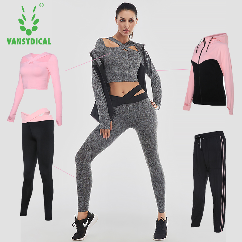 Vansydical Women Running Suits Tracksuit Women 4pcs Gym Clothing Woman Sports Suits Yoga Legging Sport Bra Fitness Tights Female fitness workout clothing and women s gym sports running girls slim leggings tops women yoga sets bra pants sport suit for female