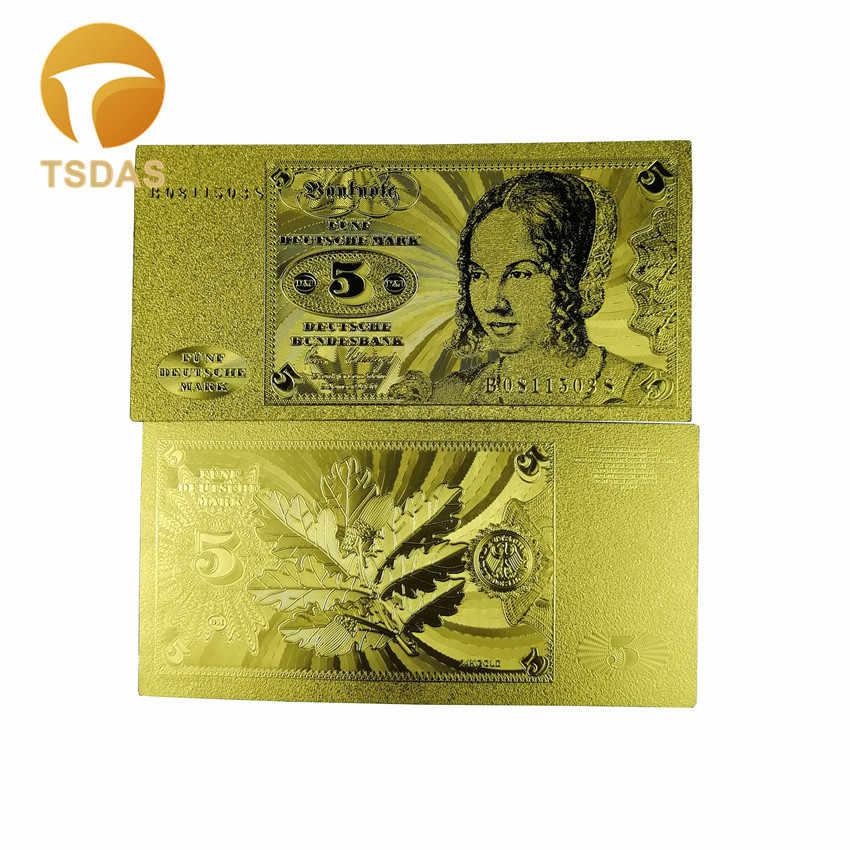 Германия 5 Deutsche Mark банкнота Необычные позолоченная банкнота подарок 10 шт./партия для коллекции