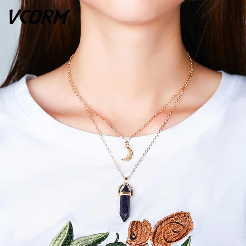 VCORM น่ารัก Moon คอลัมน์ Hexagonal คริสตัลโซ่สร้อยคอแฟชั่น VINTAGE Link Chain สร้อยคอผู้หญิงเครื่องประดับของขวัญ