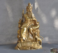 wedding decoration Chinese brass Taoism Master Zhang Dao Ling Tianshi Tiger Token Seal Faqi Statue