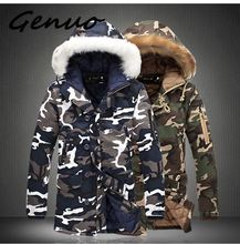 Genuo New Fur Collar Mens Jackets Camouflage Winter Coats Men Parkas Thicken Warm Male Hooded Brand Clothing