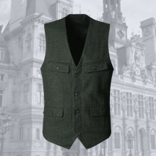 2017 Mens new winter army green woolen multi-pockets suit vest slim Men military brand casual European style vest waistcoat(China)