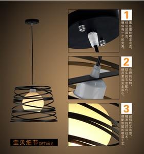 Image 5 - Простой железный спиральный подвесной светильник, абажур 32 см, черный/белый, для кухни, островного, столовой, ресторана, украшения
