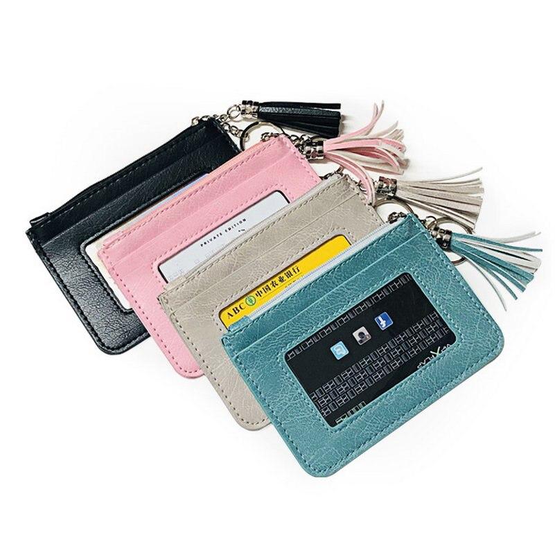 KANDRA New Fashion Vegan Leather Tassel Women Small Credit Card Travel Wallet Holder Geometric Slim Pocket Key Purse Wholesale