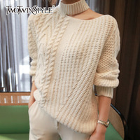 TWOTWINSTYLE Knitted Female Sweater For Women Jumper Hollow Out Off Shoulder Long Sleeve Autumn Pullovers Top Clothes Fashion