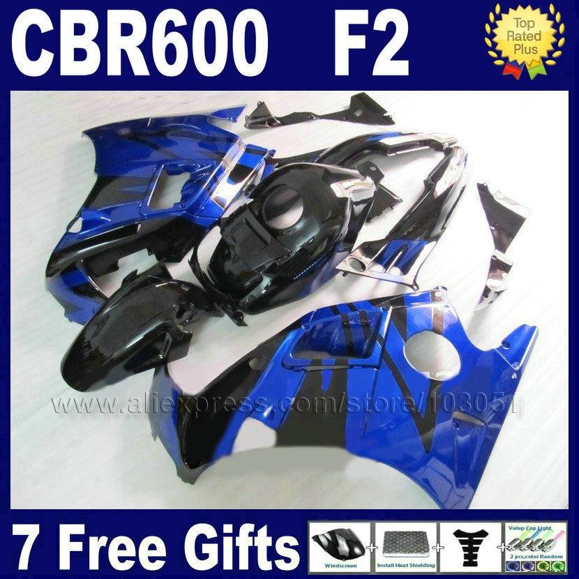 ABS motorcycle fairing bodywork for Honda blue black 91 92 93 94 CBR 600 F2 CBR600 F2 1992 1993 1991 1994 CBR600 F fairngs parts white blue abs fairing bodywork kit for yamaha fzr250 fzr 250 3ln 1990 1992 91