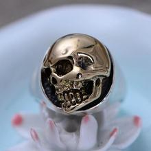 Подлинная стерлингового серебра 925 мужской череп кольцо Винтаж панк рок Мужчины ювелирные изделия высокого полировки удобную посадку