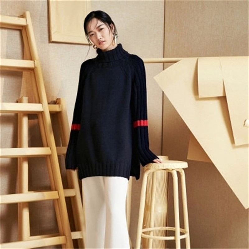 100% Hand Made Pure Wool Turtleneck Knit Women Fashion Open Hem Solid Loose Long Pullover Sweater White 4color Customized